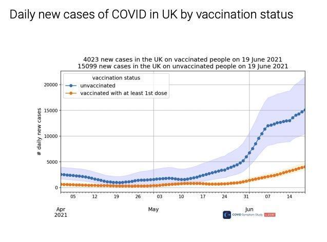 daily new cases of COVID in the UK by vaccination status, with unvaccinated infections increasing