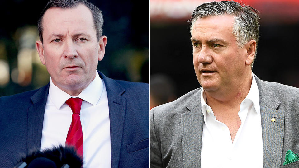 Eddie McGuire and Mark McGowan, pictured here speaking at press conferences.