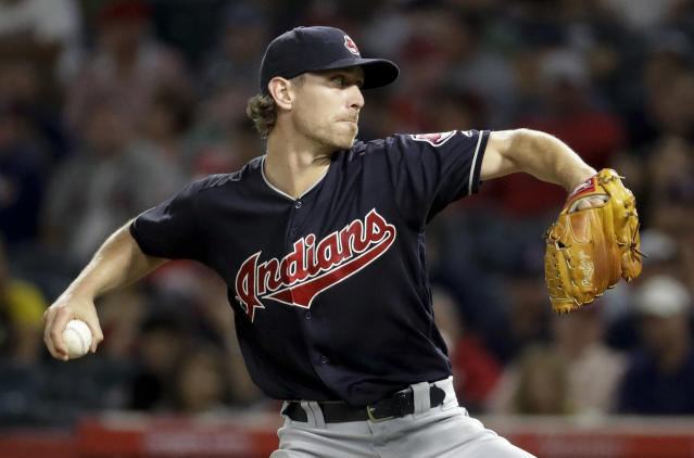 Cleveland Indians starting pitcher Josh Tomlin throws to a Los Angeles Angels batter during the first inning of a baseball game in Anaheim, Calif., Wednesday, Sept. 20, 2017. (AP Photo/Chris Carlson)