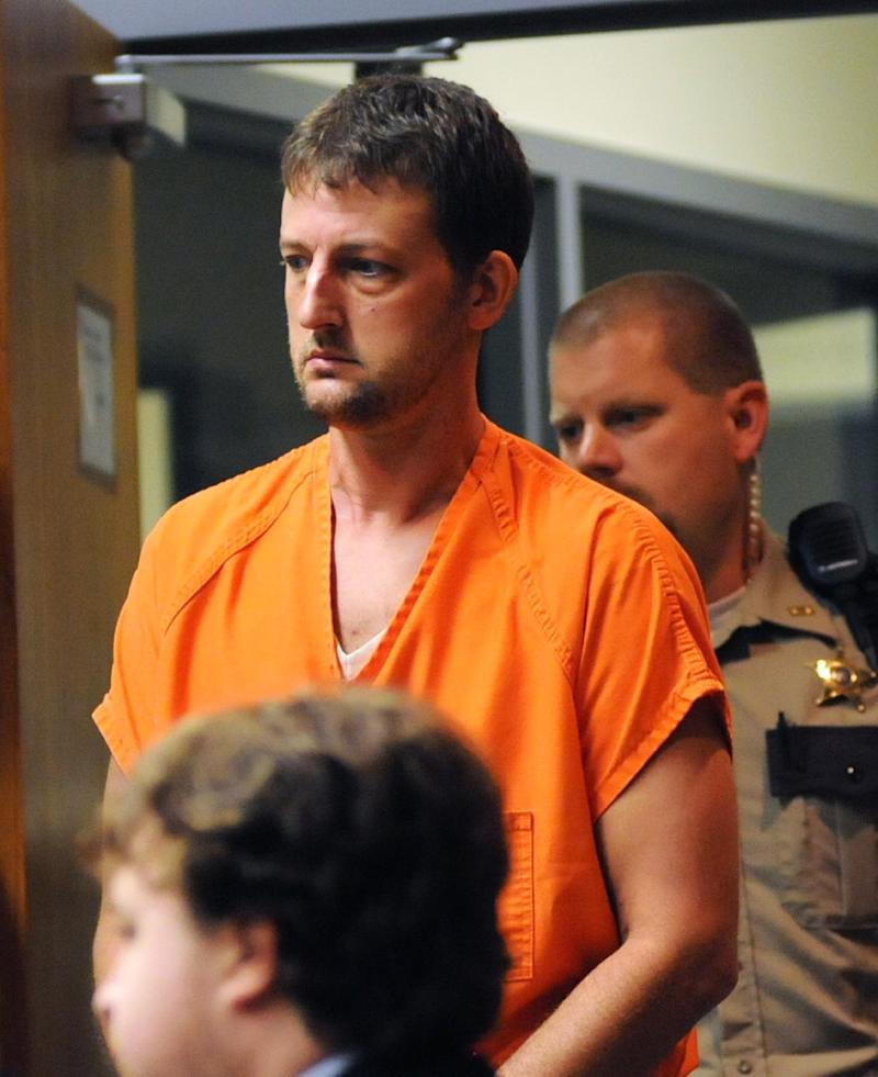 Aaron Schaffhausen, who is accused of killing his three daughters, enters a St. Croix County, Wis., court room for a preliminary hearing, Tuesday, July 24, 2012. St. Croix County Circuit Judge Scott Needham said prosecutors presented enough evidence during the preliminary hearing to persuade him that Schaffhausen probably killed all three girls and should stand trial.  (AP Photo/Star Tribune, Richard Sennott)  MANDATORY CREDIT; ST. PAUL PIONEER PRESS OUT; MAGS OUT; TWIN CITIES TV OUT