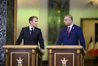 French President Emmanuel Macron and Iraqi Prime Minister Mustafa al-Kadhemi hold a joint press conference in the Iraqi capital Baghdad on August 28, 2021 (AFP/Eliot BLONDET)