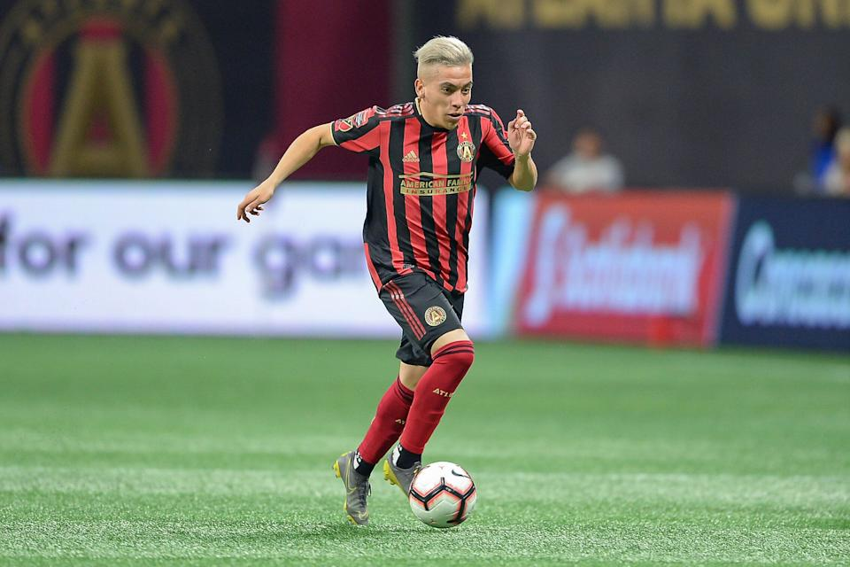 ATLANTA, GA  MARCH 13:  Atlanta's Ezequiel Barco (8) brings the ball up the field during the Concacaf Champions League match between CF Monterrey and Atlanta United FC on March 13th, 2019 at Mercedes Benz Stadium in Atlanta, GA.  (Photo by Rich von Biberstein/Icon Sportswire via Getty Images)