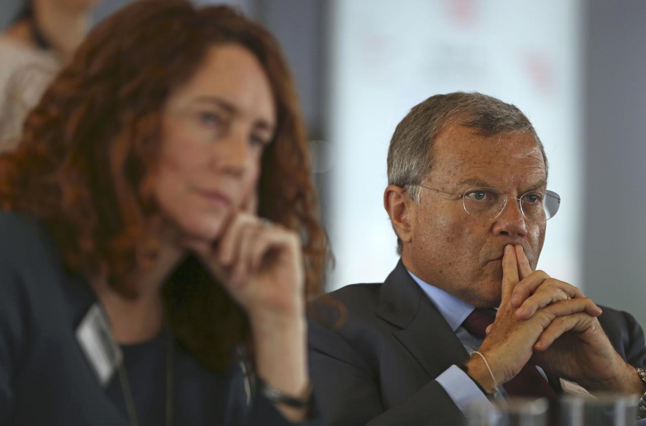 Rebekah Brooks (L), CEO of News UK, and Martin Sorrell, Chairman and Chief Executive Officer of WPP, attend The Times CEO summit in London, Britain June 28, 2016.  REUTERS/Neil Hall