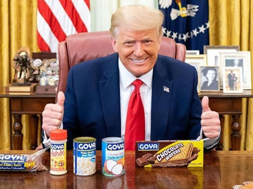 President Donald Trump posted a picture to Instagram posing with Goya Foods products, 15 July, 2020Instagram/ RealDonaldTrump