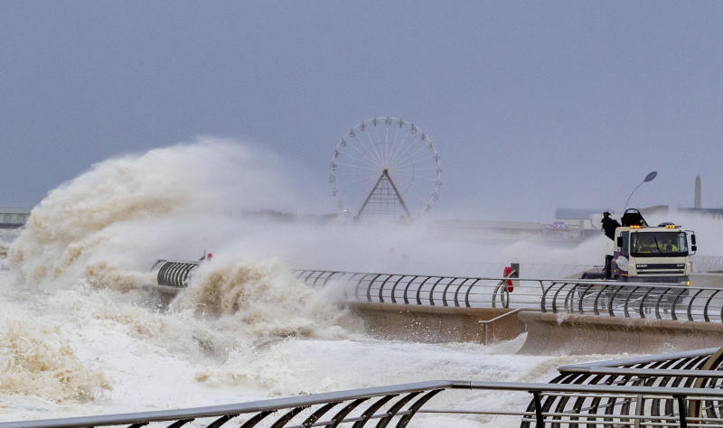 Waves crash over a lorry on Blackpool waterfront as weather warnings for wind, snow and ice have been issued across large parts of the country as the UK struggles to recover from the battering from Storm Ciara.