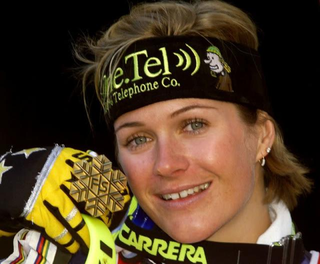 FILE PHOTO: Australia's Zali Steggall holds up the gold medal she won in the women's slalom race at the World Al..