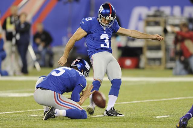 New York Giants kicker Josh Brown (3) kicks a field goal during the second half of an NFL football game against the Minnesota Vikings Monday, Oct. 21, 2013 in East Rutherford, N.J. (AP Photo/Bill Kostroun)