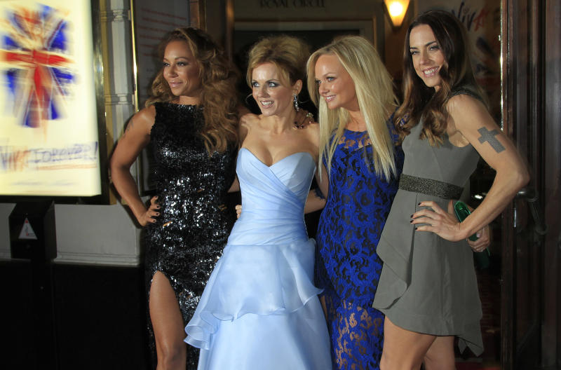 From left, Mel B, Geri Halliwell, Emma Bunton and Mel C arrive for the press showing of Viva Forever!, a musical based on the songs of the Spice Girls, at a theater in central London, Tuesday, Dec. 11, 2012. (Photo by Joel Ryan/Invision/AP)