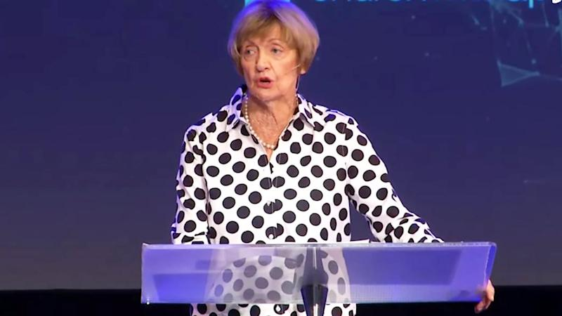 Margaret Court, pictured here speaking during a sermon at her church.