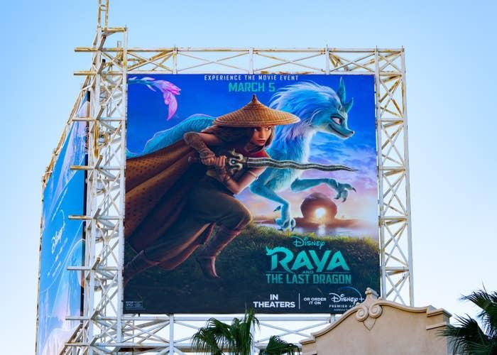 """A billboard in Hollywood, California, promotes the Disney movie """"Raya and the Last Dragon"""""""