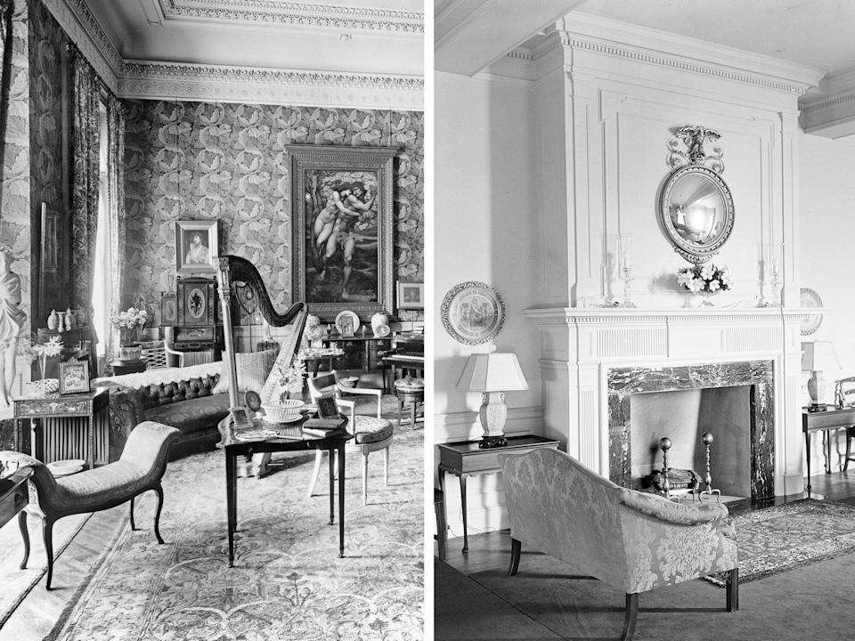 Victorian wallpaper to painted walls