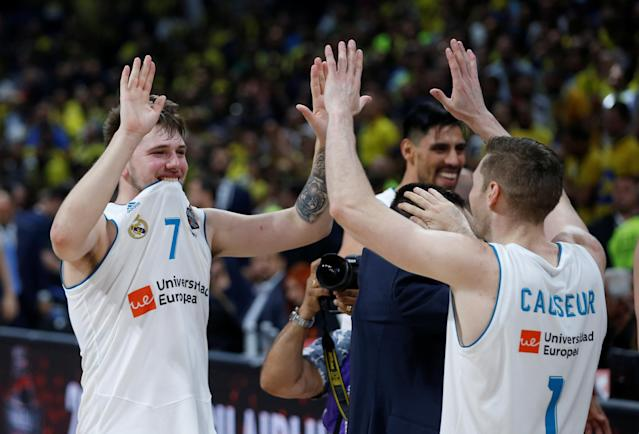 Basketball - Euroleague Final Four Final - Real Madrid vs Fenerbahce Dogus Istanbul - Stark Arena, Belgrade, Serbia - May 20, 2018 Real Madrid's Luka Doncic and Fabien Causeur celebrate REUTERS/Alkis Konstantinidis