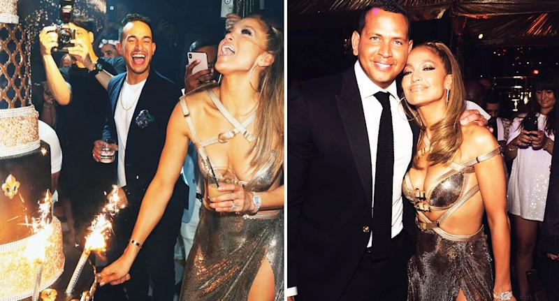 Jennifer Lopez wore a bondage inspired dress at her 50th, which she attended with fiancé Alex Rodriguez (far right). [Photo: Instagram]