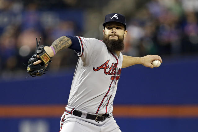Atlanta Braves pitcher Dallas Keuchel delivers during the first inning of a baseball game against the New York Mets on Friday, Sept. 27, 2019, in New York. (AP Photo/Adam Hunger)