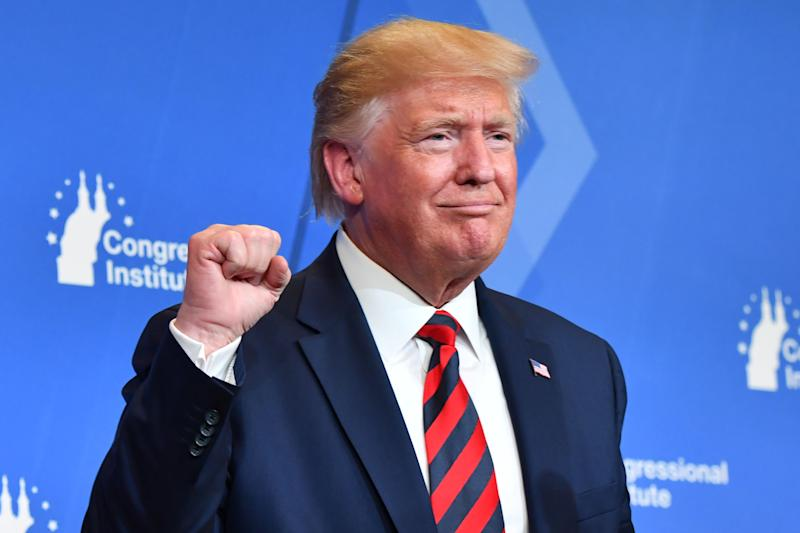 US President Donald Trump pumps his fist during the 2019 House Republican Conference Member Retreat Dinner in Baltimore, Maryland on September 12, 2019. (Photo by Nicholas Kamm / AFP) (Photo credit should read NICHOLAS KAMM/AFP/Getty Images)