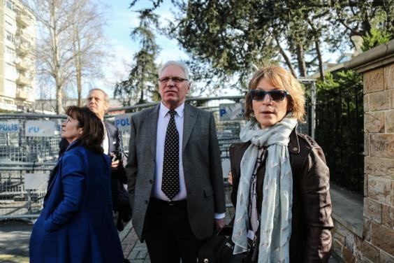 Agnes Callamard (right), UN special rapporteur on executions, stands in front of the Saudi consulate in Istanbul (EPA)