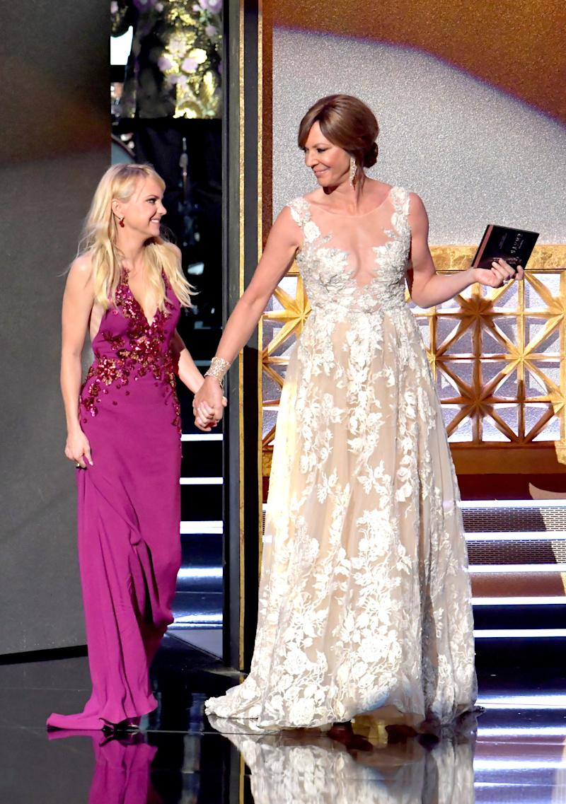 Actors Anna Faris and Allison Janney speak onstage during the 69th Annual Primetime Emmy Awards at Microsoft Theater on Sept. 17, 2017 in Los Angeles, California.