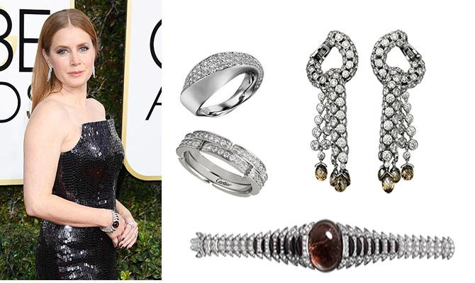 Amy Adams in Cartier at the Golden Globes. Photo: Venturelli/WireImage; Jewels courtesy
