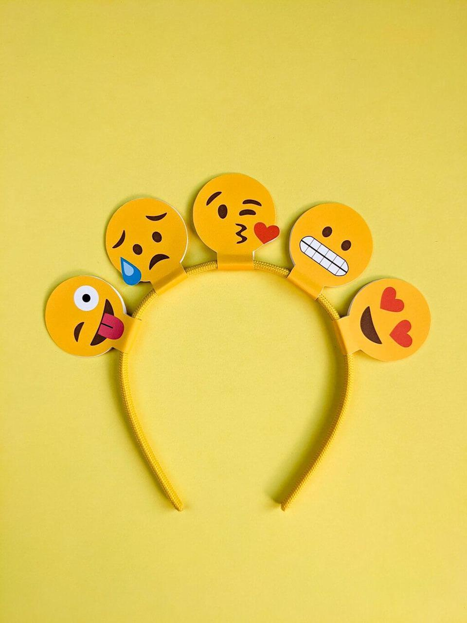 """<p>Oops! It's right before a Halloween party and you don't have a costume locked down yet. This last-minute idea solves that problem handily for kids and adults alike. Transform into an array of emojis with a yellow sweatshirt from the closet and these free printable templates, including a cute emoj-lined headband.</p><p><em><a href=""""https://www.merrimentdesign.com/easy-emoji-halloween-costume-diy-last-minute.php"""" rel=""""nofollow noopener"""" target=""""_blank"""" data-ylk=""""slk:Get the printable at Merriment Design »"""" class=""""link rapid-noclick-resp"""">Get the printable at Merriment Design »</a></em></p><p><strong>RELATED: </strong><a href=""""https://www.goodhousekeeping.com/holidays/halloween-ideas/g2750/easy-last-minute-halloween-costumes-diy/"""" rel=""""nofollow noopener"""" target=""""_blank"""" data-ylk=""""slk:65 Last-Minute Halloween Costume Ideas You Can Easily DIY Before Your Big Party"""" class=""""link rapid-noclick-resp"""">65 Last-Minute Halloween Costume Ideas You Can Easily DIY Before Your Big Party</a></p>"""