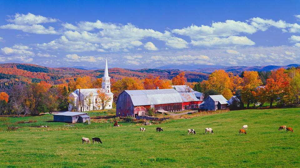 The village of South Peacham nestled in the hill side of Vermont.