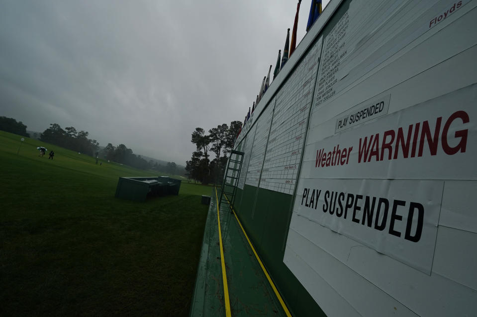 A weather warning is displayed on a leader board at the Augusta National Golf Course after play was suspended during the first round of the Masters golf tournament Thursday, Nov. 12, 2020, in Augusta, Ga. (AP Photo/Charlie Riedel)