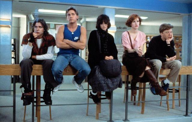 Judd Nelson, Emilio Estevez, Ally Sheedy, Molly Ringwald and Anthony Michael Hall of <em>The Breakfast Club</em>, 1985. (Photo: ©Universal Pictures/Courtesy Everett Collection)