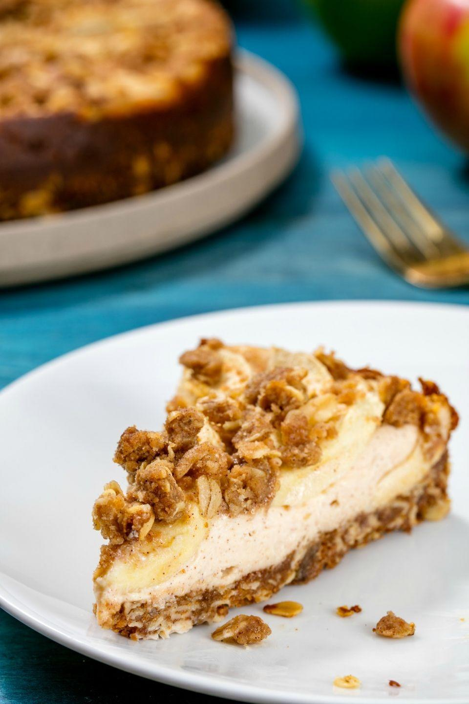 """<p>The crumble topping is the clincher on this dreamy dessert hybrid.</p><p>Get the recipe from <a href=""""https://www.delish.com/cooking/recipe-ideas/recipes/a50132/apple-pie-cheesecake-recipe/"""" rel=""""nofollow noopener"""" target=""""_blank"""" data-ylk=""""slk:Delish"""" class=""""link rapid-noclick-resp"""">Delish</a>.</p>"""