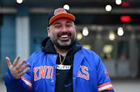 New York Knicks superfan Anthony Donahue before the Knicks's game against Golden State Warriors at Madison Square Garden on February 23, 2021