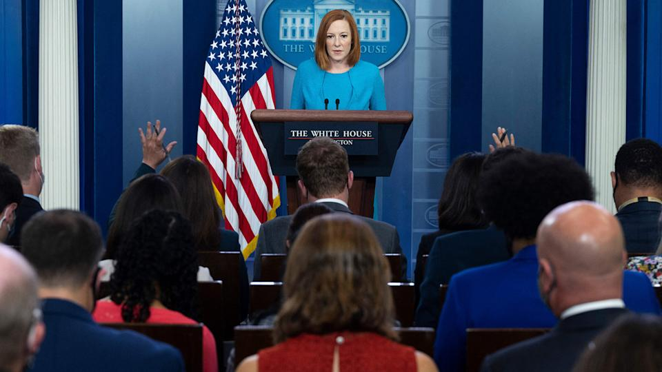 White House Press Secretary Jen Psaki holds a press briefing in the Brady Briefing Room of the White House in Washington, DC on August 3, 2021. (Jim Watson/AFP via Getty Images)