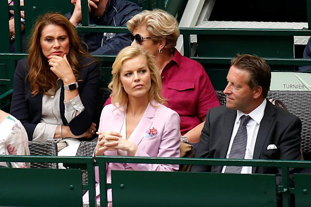 Tennis - ATP - Halle Open Finals - Gerry Weber Stadion, Halle, Germany - June 24, 2018 Czech model and actress Eva Herzigova watches on during the final between Switzerland's Roger Federer and Croatia's Borna Coric REUTERS/Leon Kuegeler