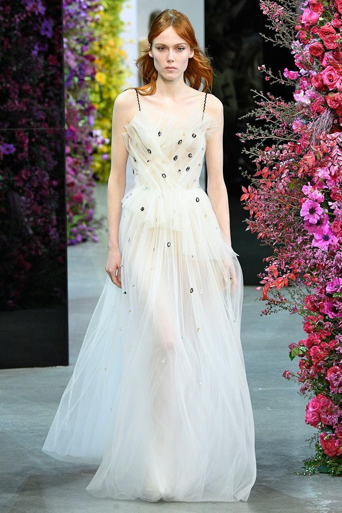 <p>A cream dress made of tulle and small embellishments at the Jason Wu FW18 show.(Photo: Getty) </p>