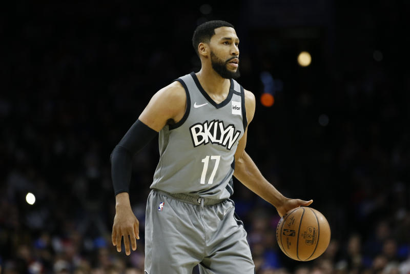Brooklyn Nets' Garrett Temple plays during an NBA basketball game against the Philadelphia 76ers, Thursday, Feb. 20, 2020, in Philadelphia. (AP Photo/Matt Slocum)