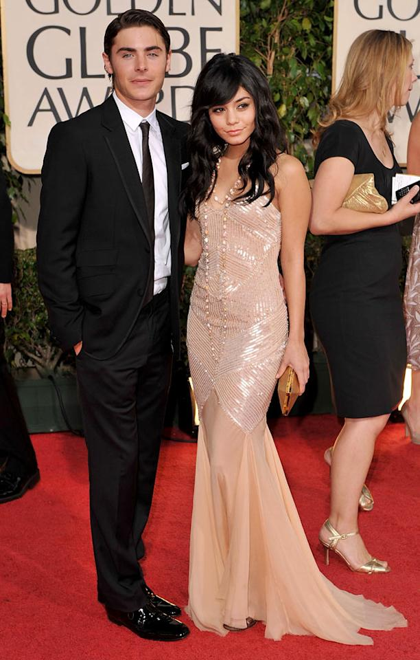 """Zac Efron and Vanessa Hudgens arrive at the 66th Annual Golden Globe Awards in Beverly Hills. Steve Granitz/<a href=""""http://www.wireimage.com"""" target=""""new"""">WireImage.com</a> - January 11, 2009"""