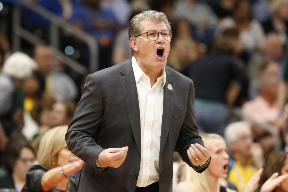 Apr 5, 2019; Tampa, FL, USA; UConn Huskies head coach Geno Auriemma yells on the sidelines against the Notre Dame Fighting Irish during the first half in the semifinals of the women's Final Four of the 2019 NCAA Tournament at Amalie Arena. Mandatory Credit: Kim Klement-USA TODAY Sports