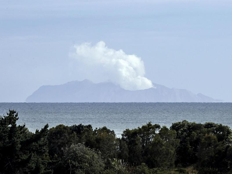 Plumes of steam rose above the volcano on White Island days after the eruption: AP / Mark Baker