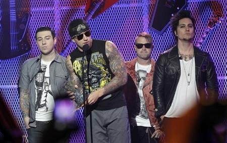 Rock band Avenged Sevenfold accept the Affliction Album of the Year award at the 3rd annual Golden Gods awards in Los Angeles