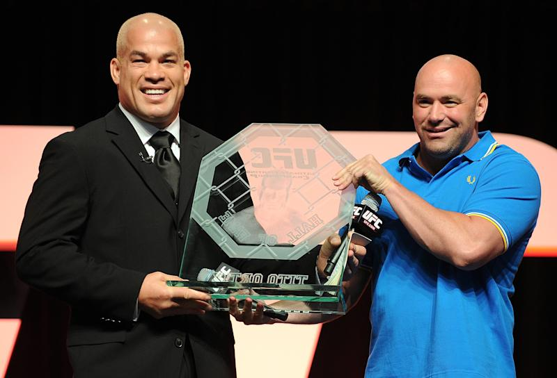 LAS VEGAS, NV - JULY 07: (R-L) UFC President Dana White inducts Tito Ortiz into the UFC Hall of Fame during the UFC Fan Expo at the Mandalay Bay Convention Center on July 7, 2012 in Las Vegas, Nevada. (Photo by Al Powers/Zuffa LLC/Zuffa LLC via Getty Images)
