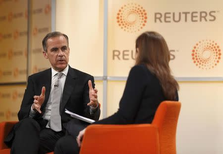 Mark Carney, Governor of the Bank of England, speaks at a Reuters Newsmaker event in London