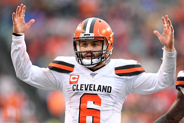 Cleveland Browns quarterback Baker Mayfield plans to kneel during the national anthem in protest this season. (Nick Cammett/Diamond Images via Getty Images)