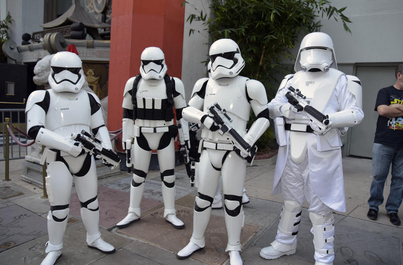 "HOLLYWOOD, CALIFORNIA - DECEMBER 19: Imperial stormtroopers pose at the IMAX opening of ""Star Wars: The Rise Of Skywalker"" at TCL Chinese Theatre on December 19, 2019 in Hollywood, California. (Photo by Michael Tullberg/Getty Images)"