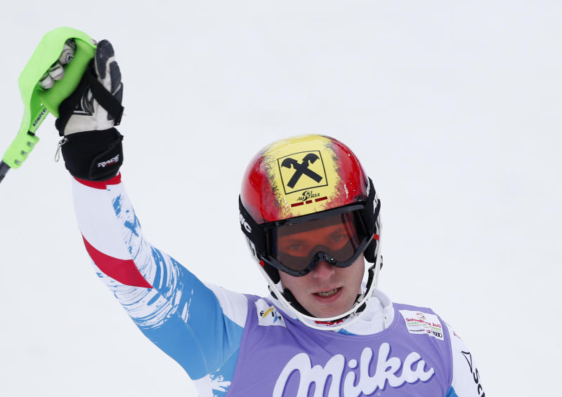 Austria's Marcel Hirscher reacts after the first run of the men's slalom at the Alpine skiing world championships in Schladming, Austria, Sunday, Feb.17,2013. (AP Photo/Matthias Schrader)