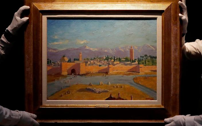 Oil on canvas painting by Sir Winston Churchill painted in Jan. 1943 called 'Tower of the Koutoubia Mosque' - Frank Augstein /AP