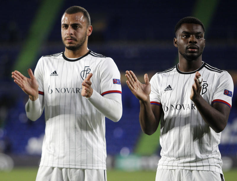 GETAFE, SPAIN - OCTOBER 24: Samuele Campo of FC Basel and Arthur Cabral of FC Basel gestures during the UEFA Europa League group C match between Getafe CF and FC Basel at Coliseum Alfonso Perez on October 24, 2019 in Getafe, Spain. (Photo by TF-Images/Getty Images)