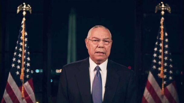PHOTO: Gen. Colin Powell speaks on the second night of the Democratic National Convention, Aug. 18, 2020, from Washington, D.C. (Democratic National Convention)