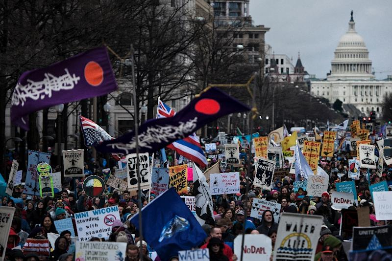 Activists protest against the Keystone XL Pipeline on March 10, 2017 in Washington, DC