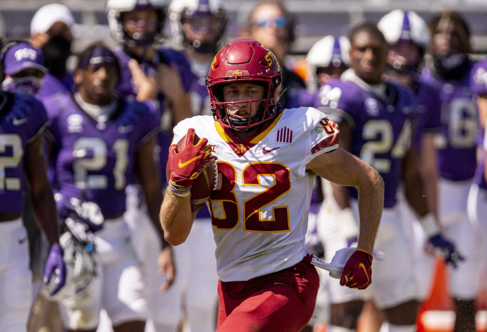 FILE - Iowa State wide receiver Landen Akers (82) carries the ball during an NCAA college football game against TCU in Fort Worth, Texas, in this Saturday, Sept. 26, 2020, file photo. The Cyclones occupied the spot next to Kansas at the bottom of the Big 12 when the 23-year-old wide receiver from Cedar Rapids, Iowa, arrived in Ames. Now the Cyclones (7-2, 7-1) are alone in first place heading into Saturday's game against West Virginia (5-3, 4-3).(AP Photo/Brandon Wade, File)