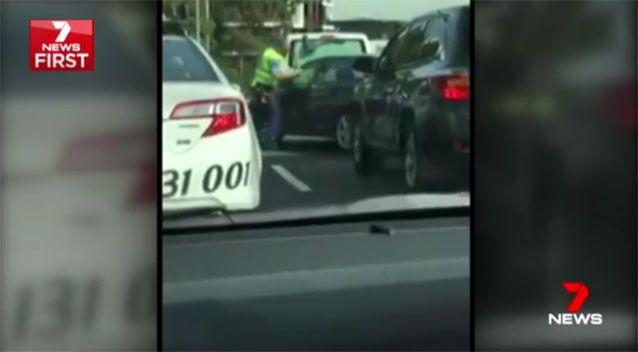 The man was captured on dashcam driving at police. Source: 7News