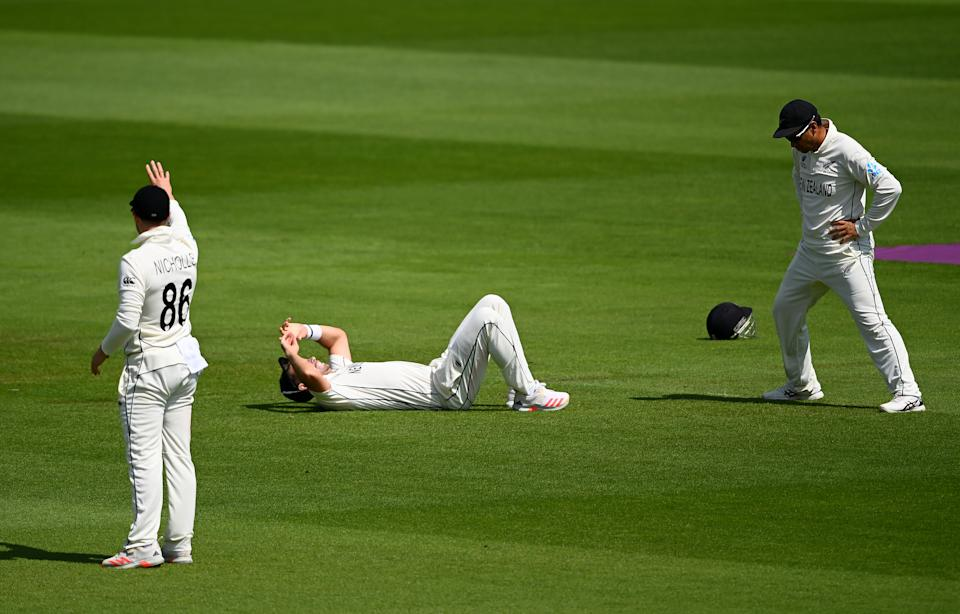SOUTHAMPTON, ENGLAND - JUNE 23: Tim Southee of New Zealand reacts after missing a catch during the Reserve Day of the ICC World Test Championship Final between India and New Zealand at The Hampshire Bowl on June 23, 2021 in Southampton, England. (Photo by Alex Davidson/Getty Images)