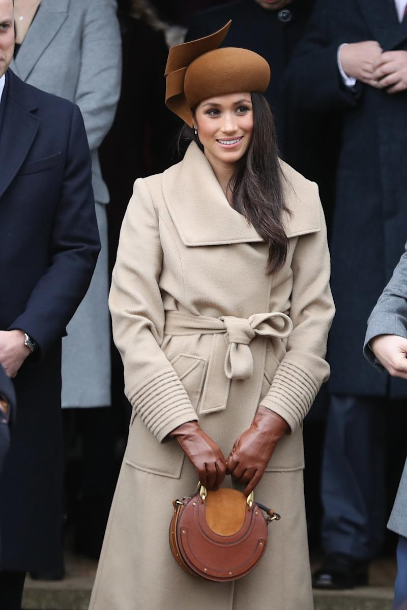 The duchess wearing Marks & Spencer gloves on Christmas Day in 2017