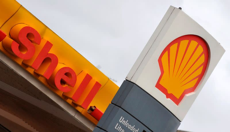 FILE PHOTO: The Royal Dutch Shell logo is seen at a Shell petrol station in London